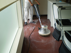 床洗浄の様子